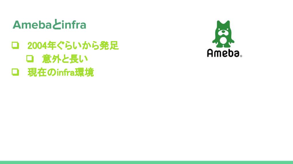 ❏ 2004年ぐらいから発足 ❏ 意外と長い ❏ 現在のinfra環境 Amebaとinfra