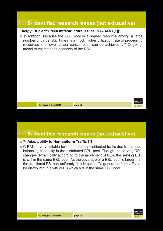 L. Nuaymi, Dépt RSM page 28 5- Identified resea...