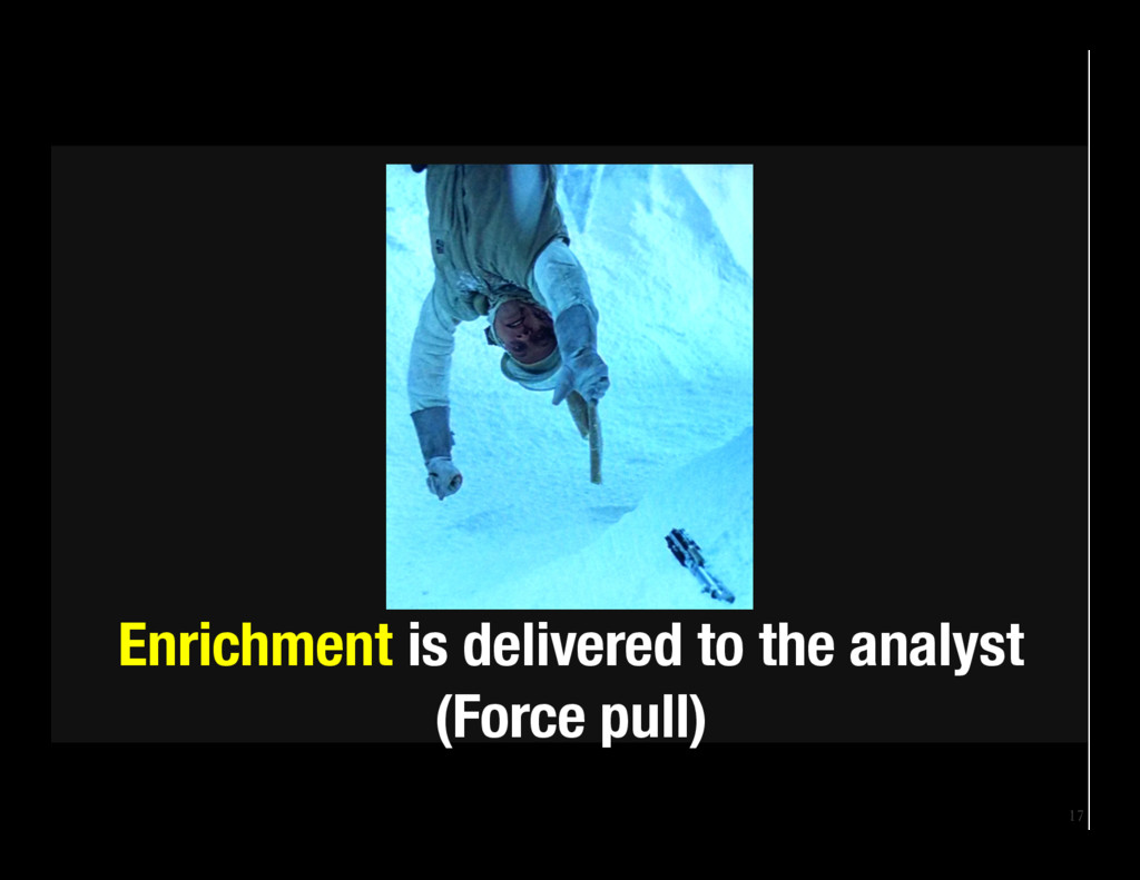 17 Enrichment is delivered to the analyst (For...
