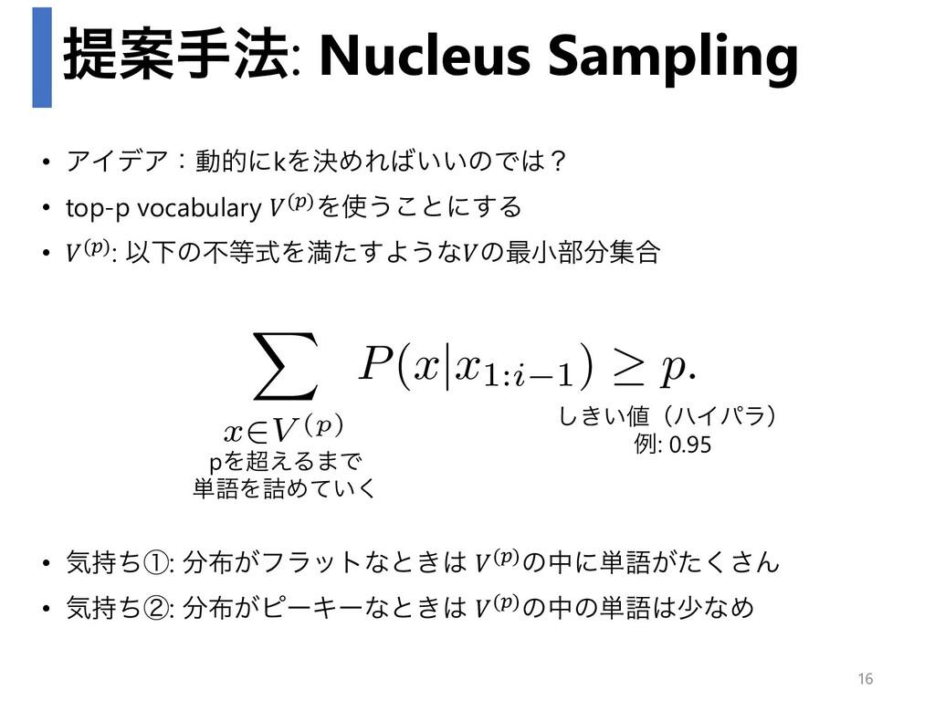 ఏҊख๏: Nucleus Sampling • ΞΠσΞɿಈతʹkΛܾΊΕ͍͍ͷͰʁ •...