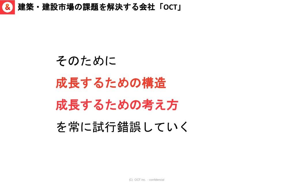 (C) OCT inc. - confidencial 建築・建設市場の課題を解決する会社「O...