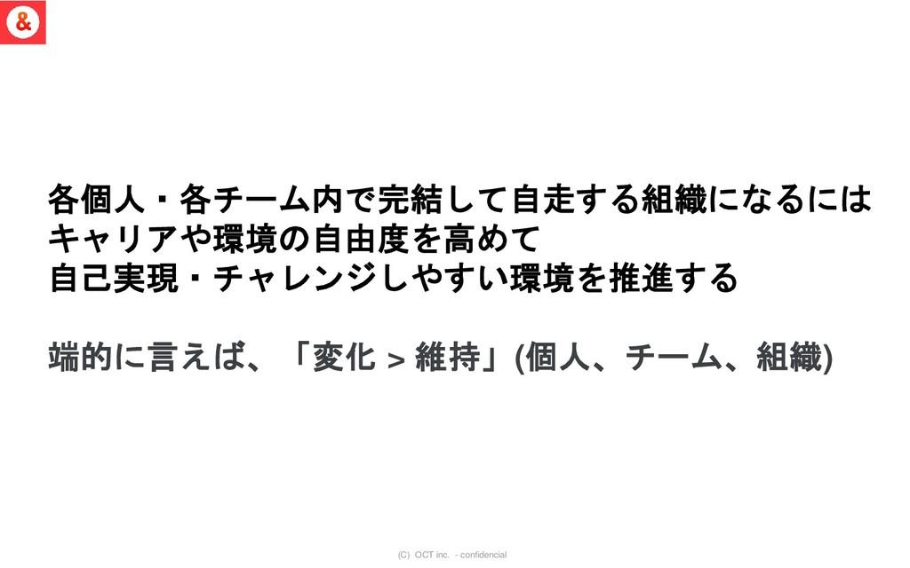 (C) OCT inc. - confidencial 各個人・各チーム内で完結して自走する組...