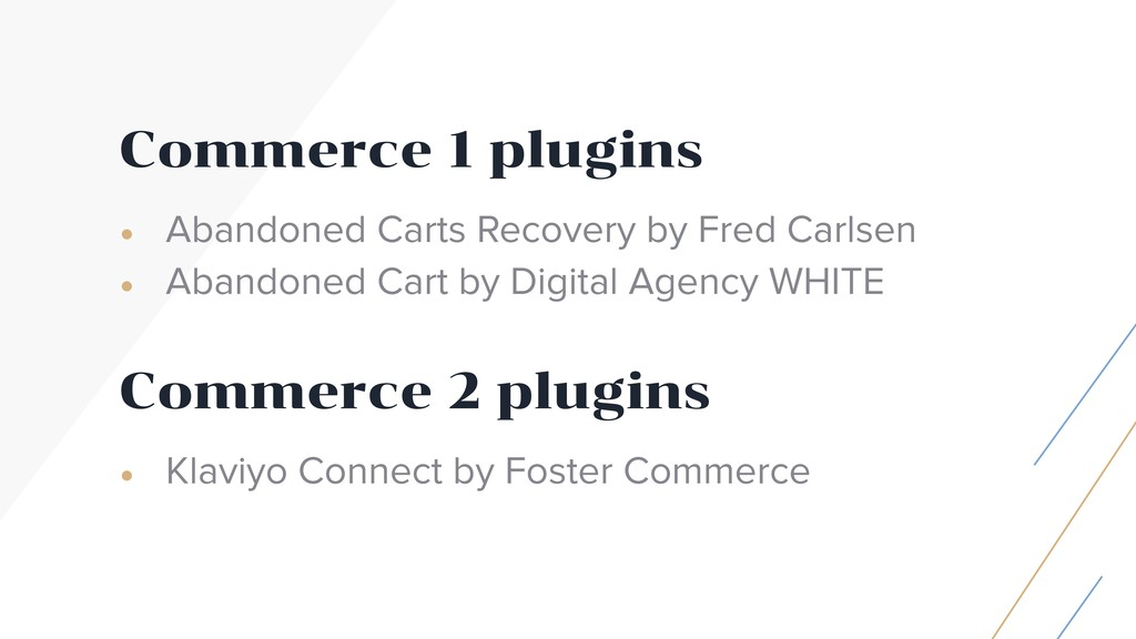 Commerce 1 plugins • Abandoned Carts Recovery b...