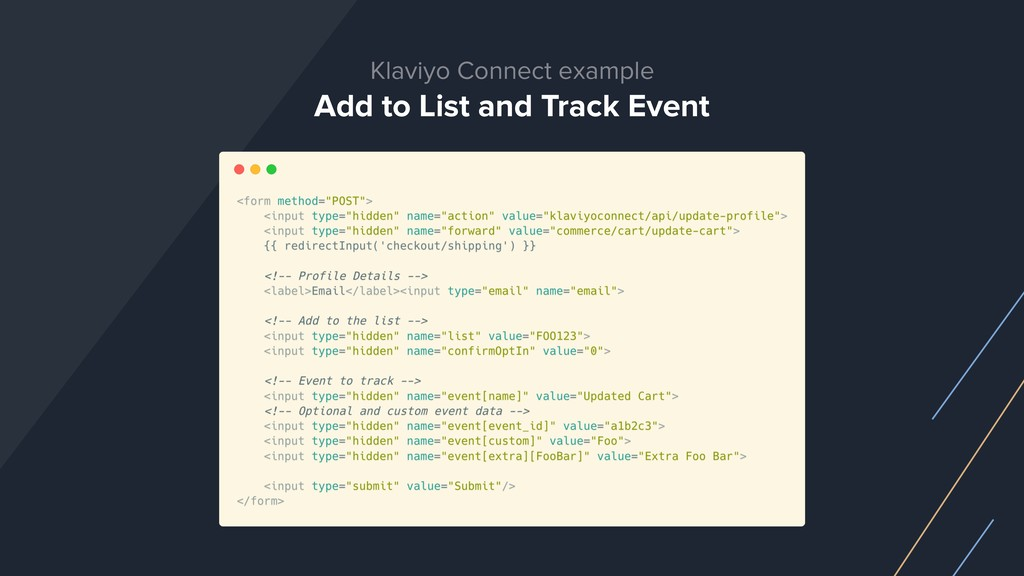 Klaviyo Connect example Add to List and Track E...