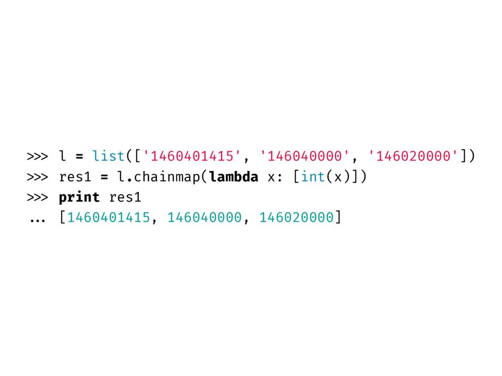 >>> l = list(['1460401415', '146040000', '14602...
