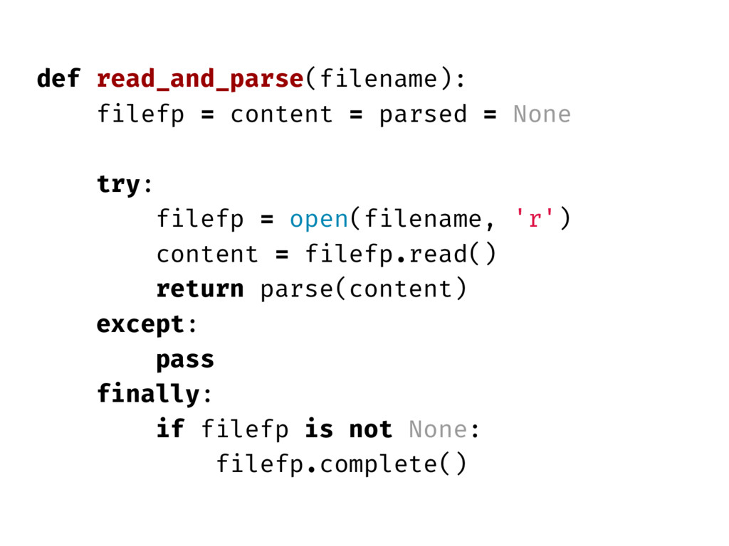 def read_and_parse(filename): filefp = content ...