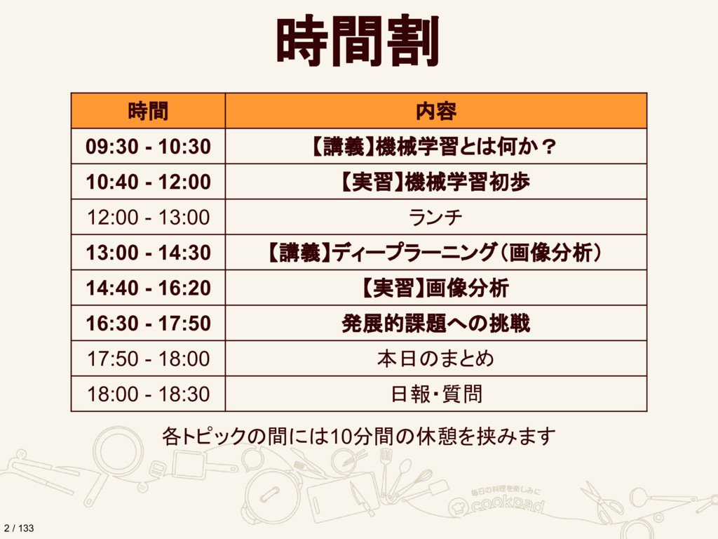 時間割 時間 内容 09:30 - 10:30 【講義】機械学習とは何か? 10:40 - 1...