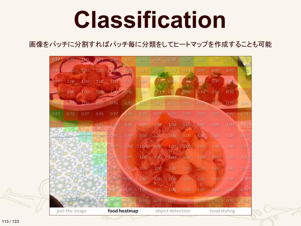 Classification 画像をパッチに分割すればパッチ毎に分類をしてヒートマップを作成す...