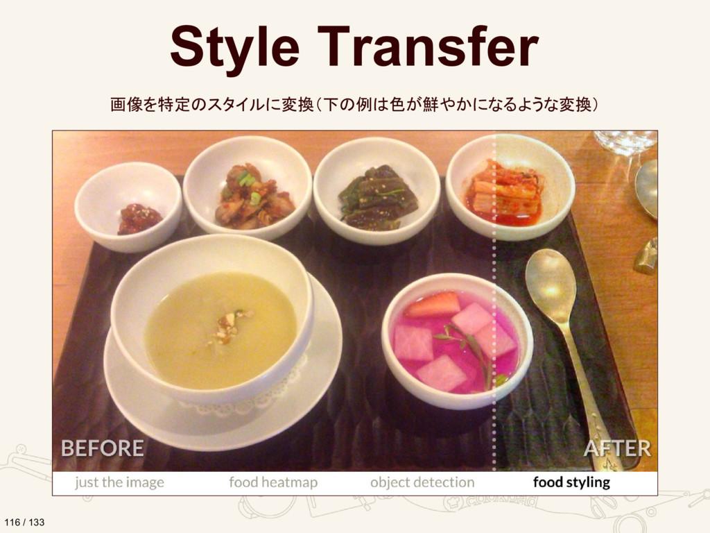 Style Transfer 画像を特定のスタイルに変換(下の例は色が鮮やかになるような変換)...