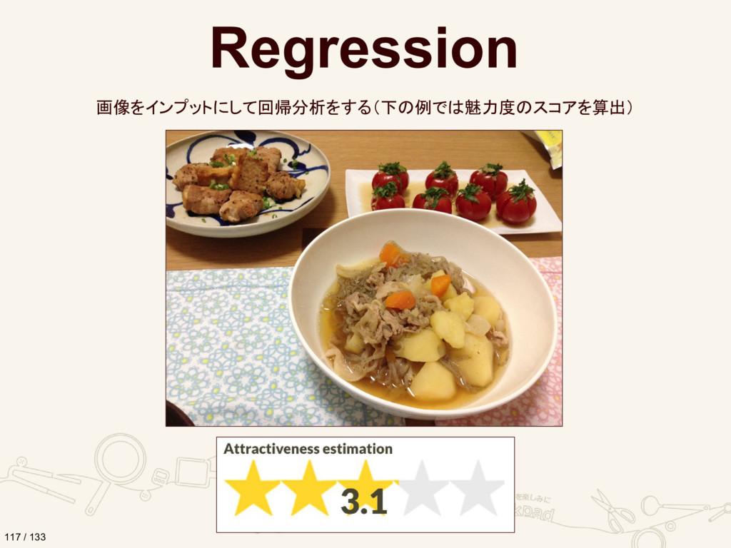Regression 画像をインプットにして回帰分析をする(下の例では魅力度のスコアを算出) ...