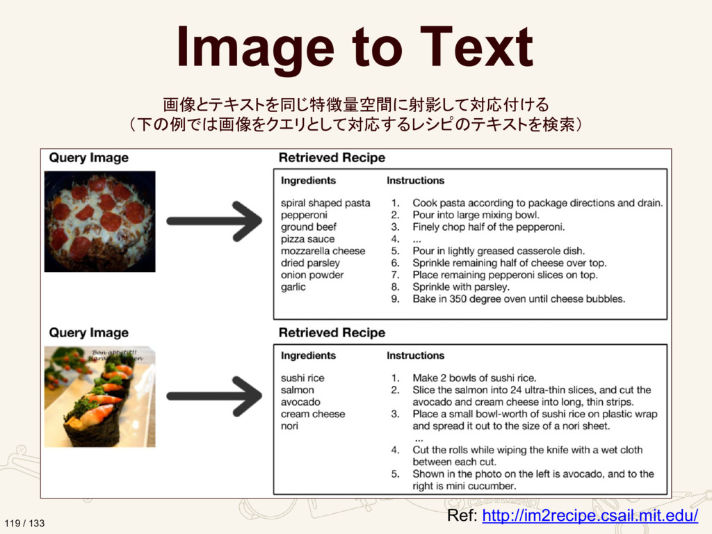 Ref: http://im2recipe.csail.mit.edu/ Image to T...