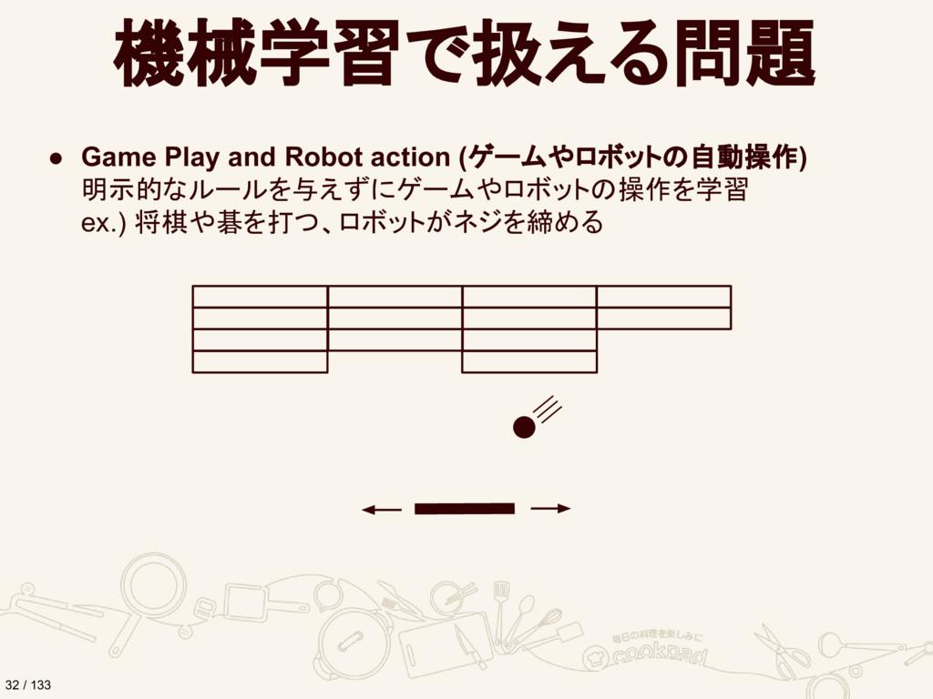機械学習で扱える問題 ● Game Play and Robot action (ゲームやロボ...