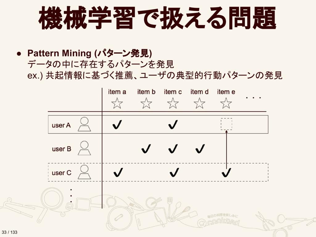 機械学習で扱える問題 ● Pattern Mining (パターン発見) データの中に存在する...