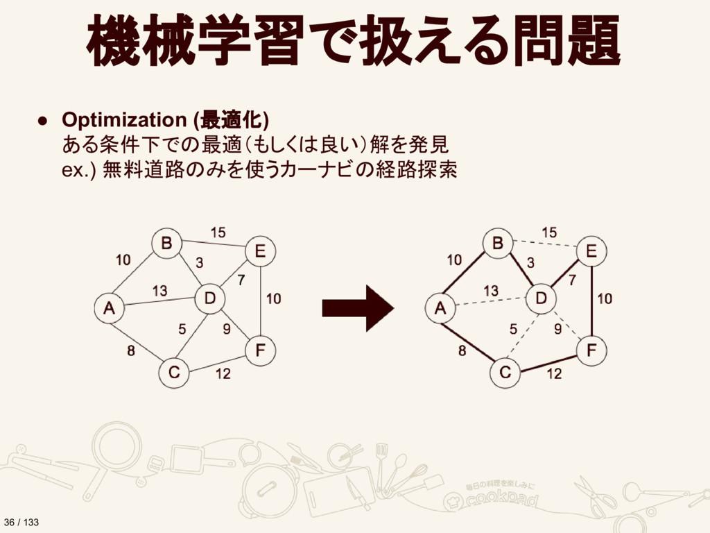 機械学習で扱える問題 ● Optimization (最適化) ある条件下での最適(もしくは良...