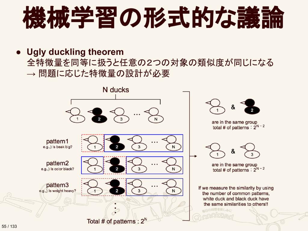 機械学習の形式的な議論 ● Ugly duckling theorem 全特徴量を同等に扱うと...