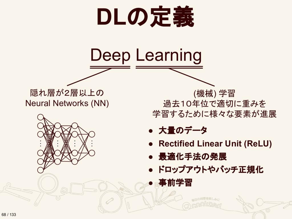 DLの定義 Deep Learning 隠れ層が2層以上の Neural Networks (...