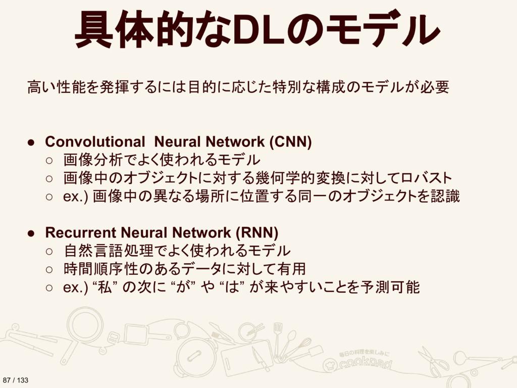 具体的なDLのモデル 高い性能を発揮するには目的に応じた特別な構成のモデルが必要 ● Conv...