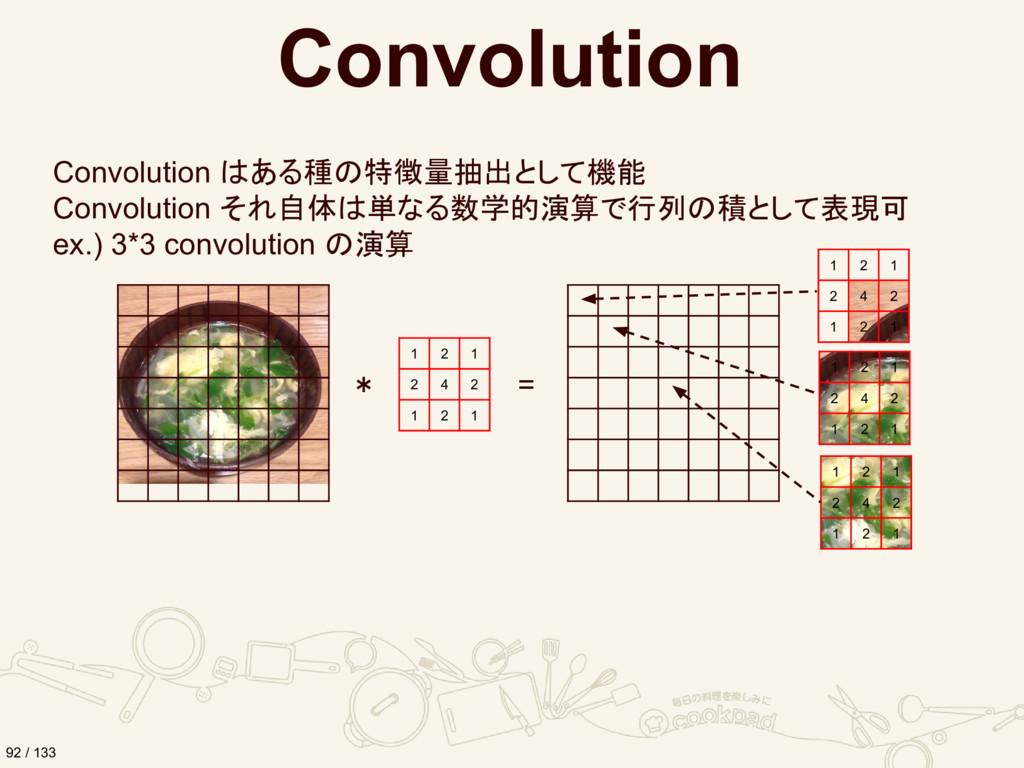 Convolution Convolution はある種の特徴量抽出として機能 Convolu...