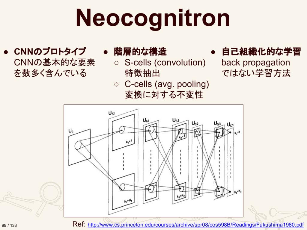 Neocognitron ● CNNのプロトタイプ CNNの基本的な要素 を数多く含んでいる ...