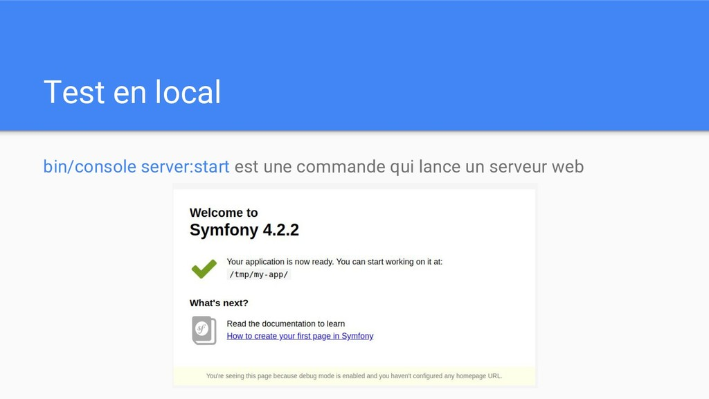 Test en local bin/console server:start est une ...