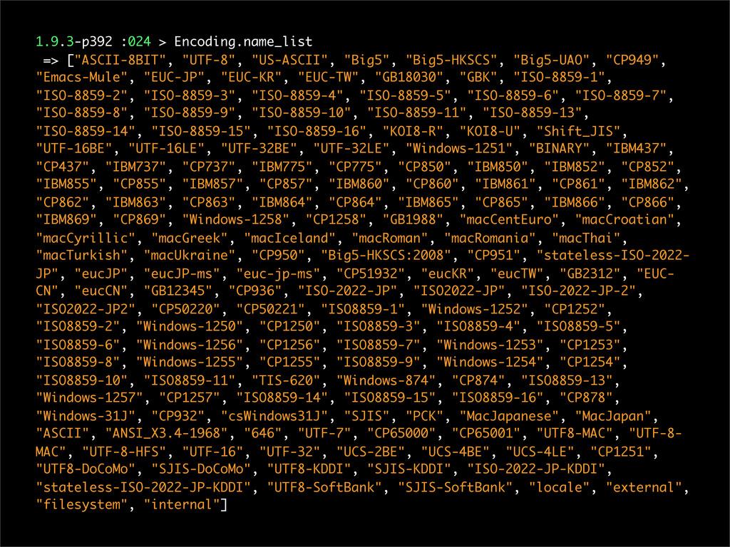 "1.9.3-p392 :024 > Encoding.name_list => [""ASCII..."