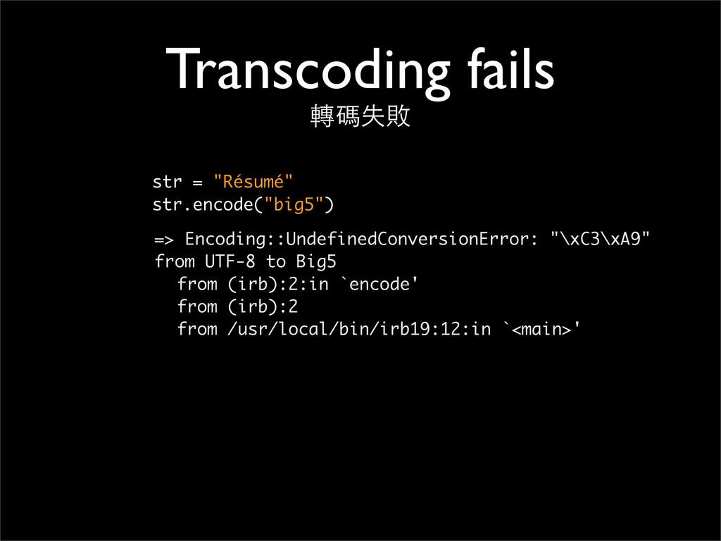 """Transcoding fails 轉碼失敗 str = """"Résumé"""" str.encod..."""