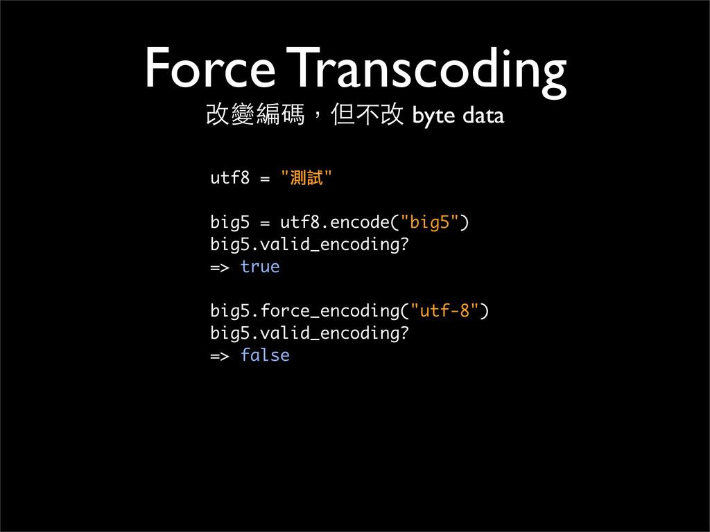 """Force Transcoding 改變編碼,但不改 byte data utf8 = """"測試..."""