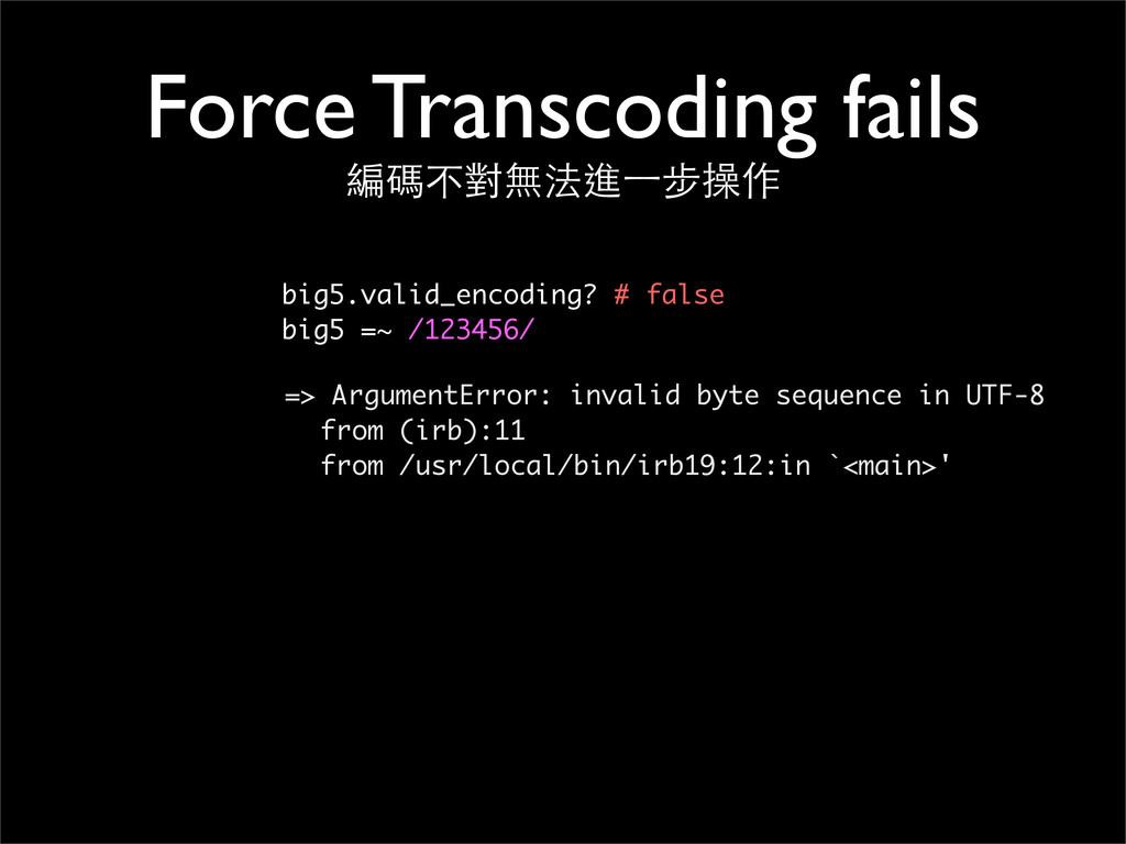 Force Transcoding fails 編碼不對無法進⼀一步操作 big5.valid...