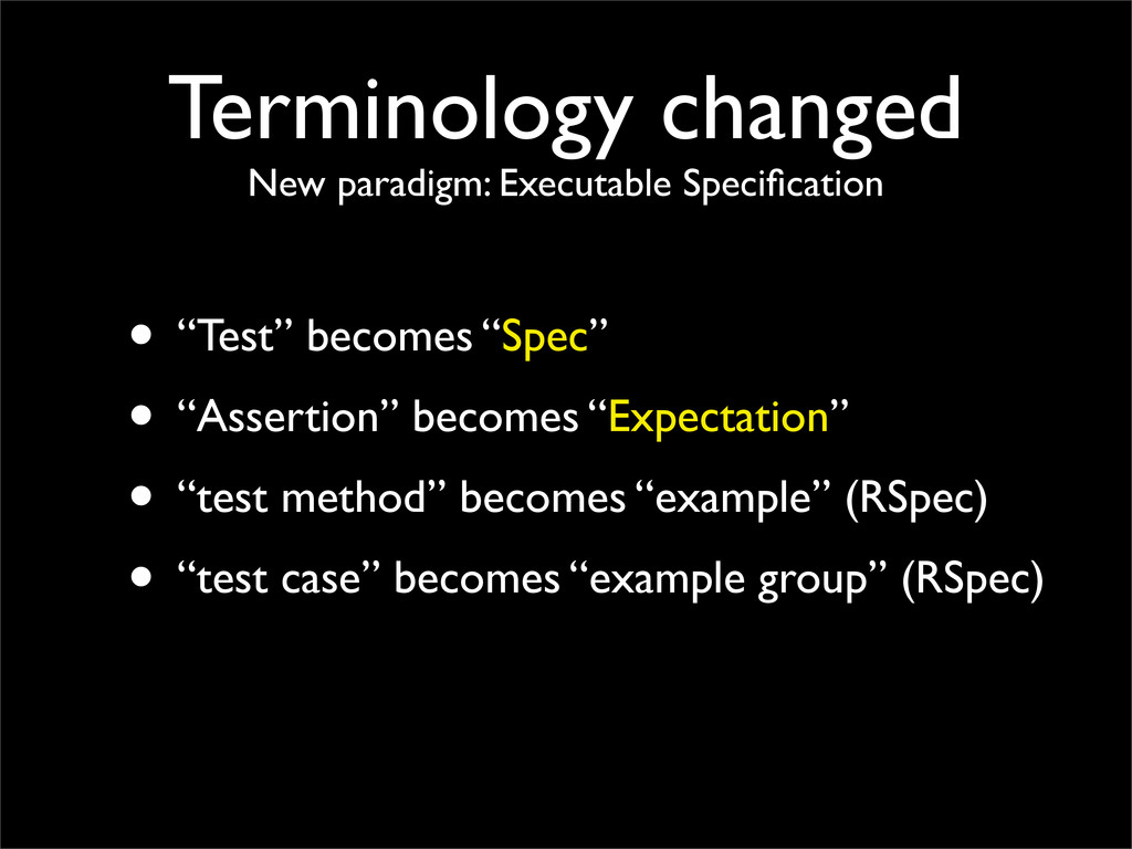 Terminology changed New paradigm: Executable Sp...