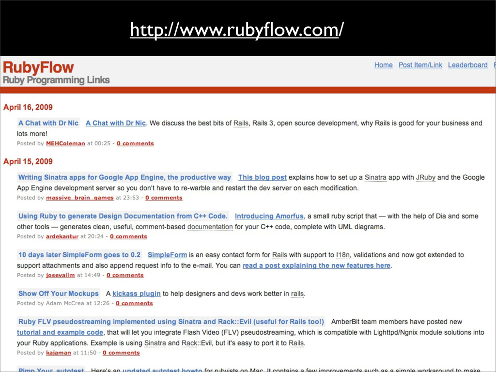 http://www.rubyflow.com/