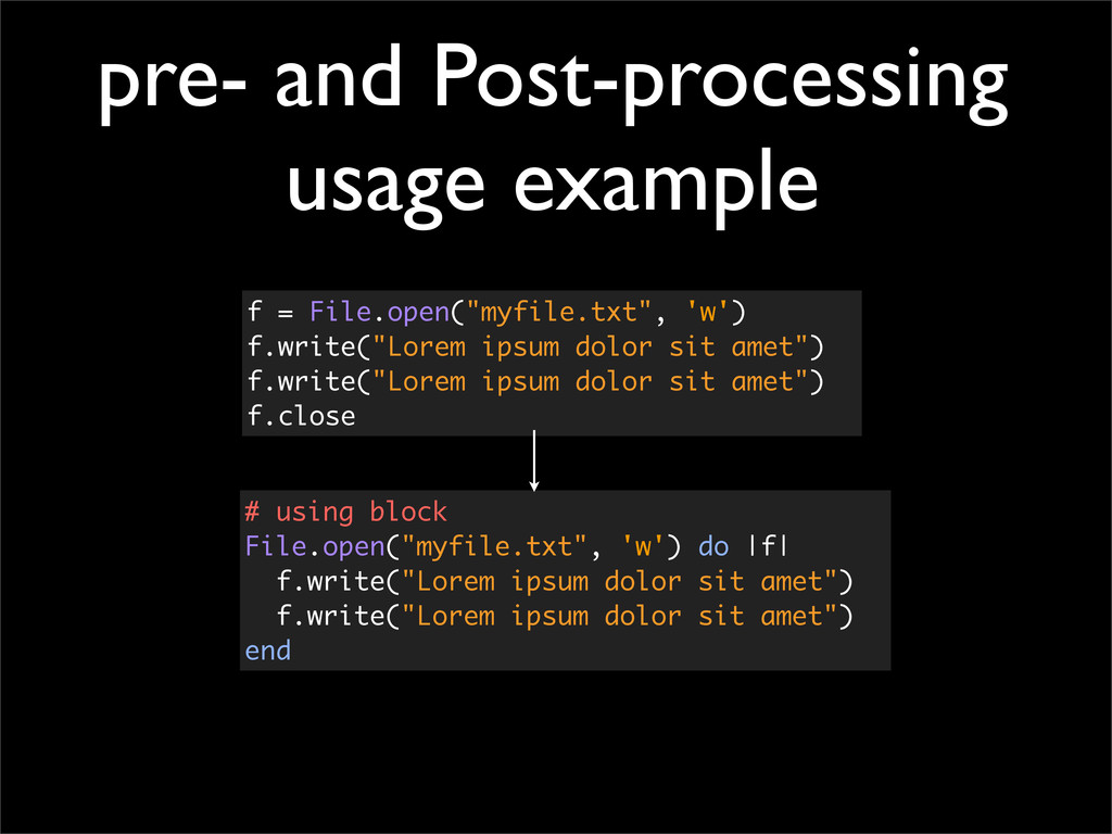 pre- and Post-processing usage example f = File...