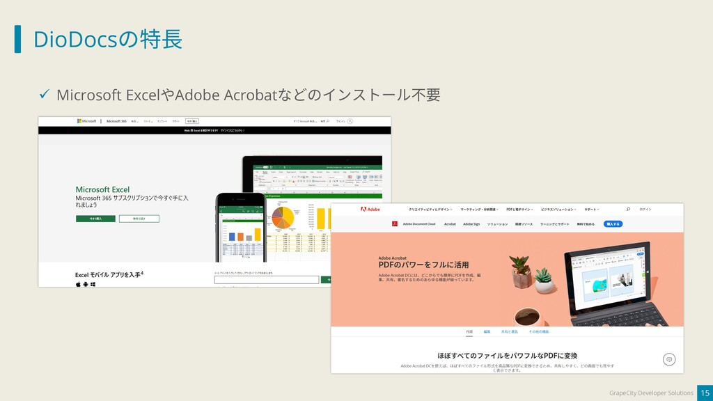 DioDocsの特長 15 GrapeCity Developer Solutions ✓ M...