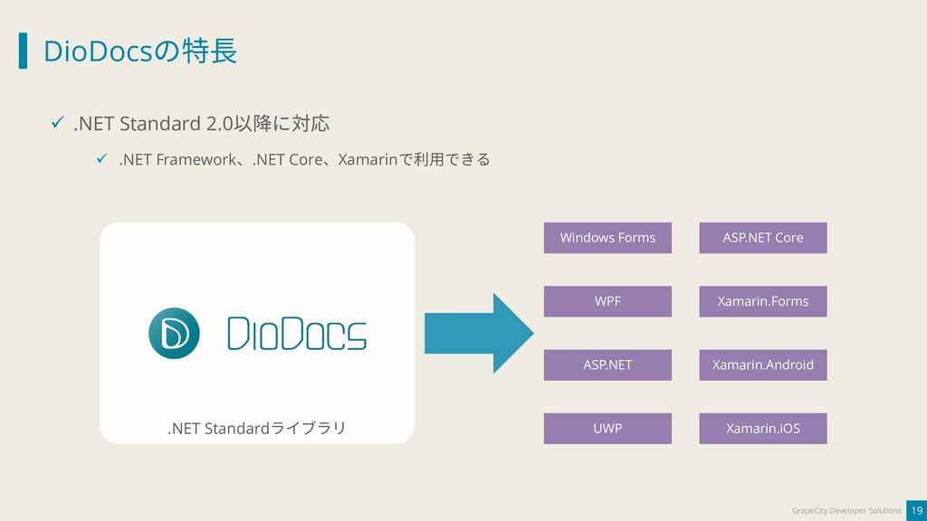 DioDocsの特長 19 GrapeCity Developer Solutions ✓ ....