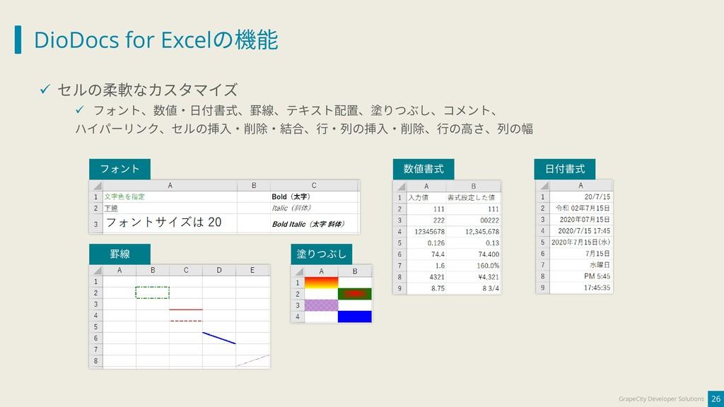 DioDocs for Excelの機能 26 GrapeCity Developer Sol...
