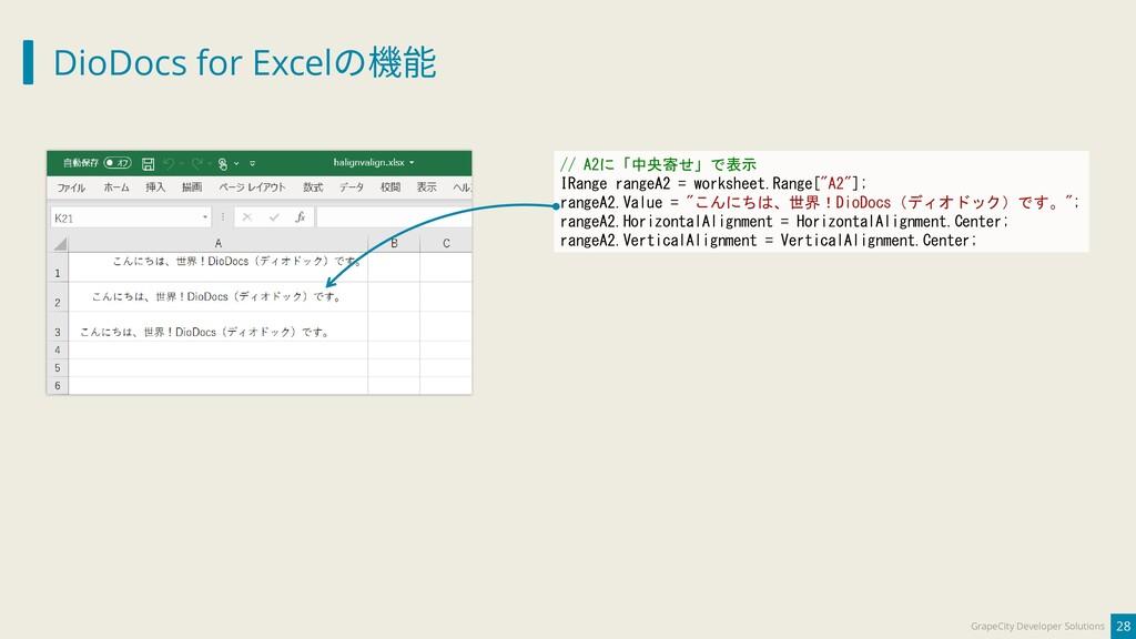 DioDocs for Excelの機能 28 GrapeCity Developer Sol...