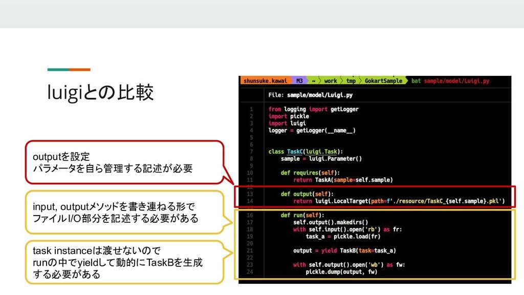 luigiとの比較 task instanceは渡せないので runの中でyieldして動的に...