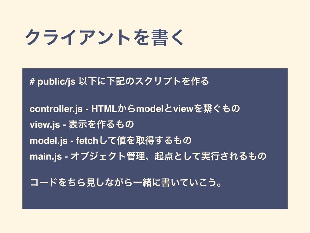 ΫϥΠΞϯτΛॻ͘ # public/js ҎԼʹԼهͷεΫϦϓτΛ࡞Δ controller...