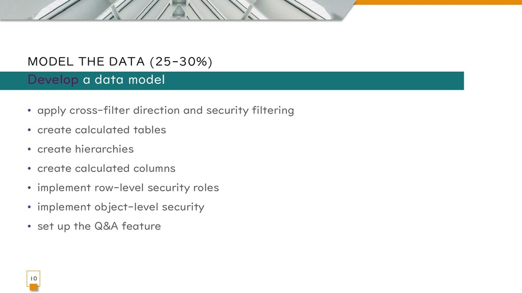 MODEL THE DATA (25-30%) • apply cross-filter di...