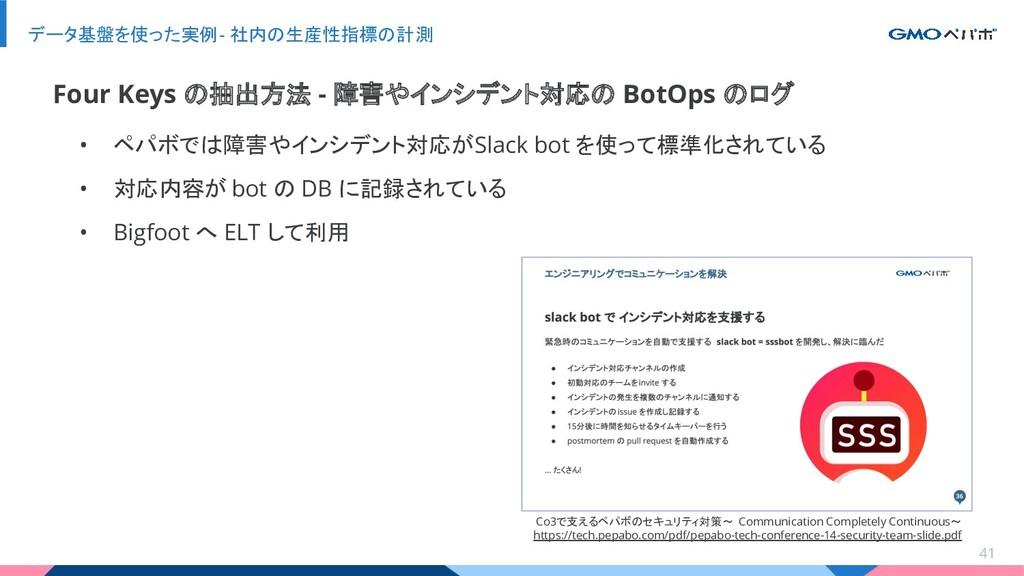 • ペパボでは障害やインシデント対応が Slack bot を使って標準化されている • 対応...