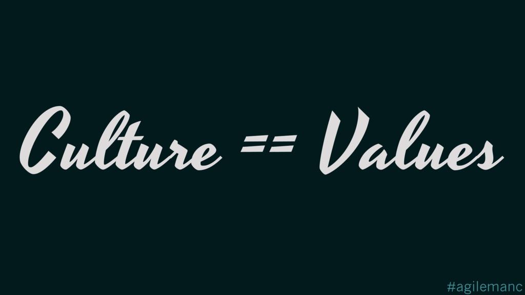 #agilemanc Culture == Values
