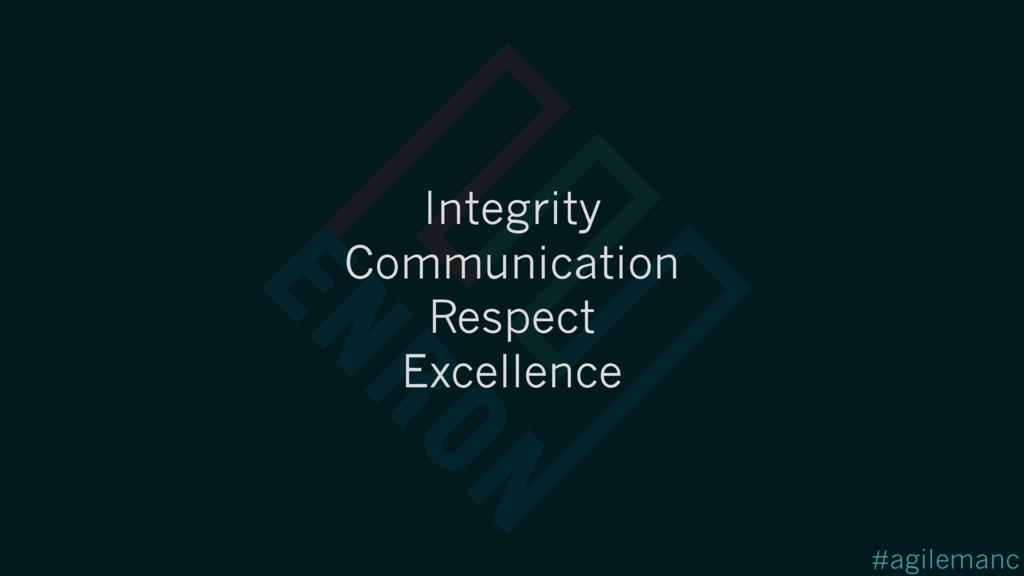 #agilemanc Integrity Communication Respect Exce...