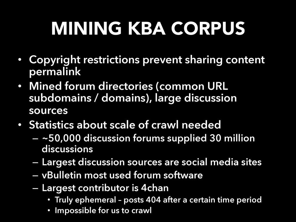 MINING KBA CORPUS • Copyright restrictions pr...