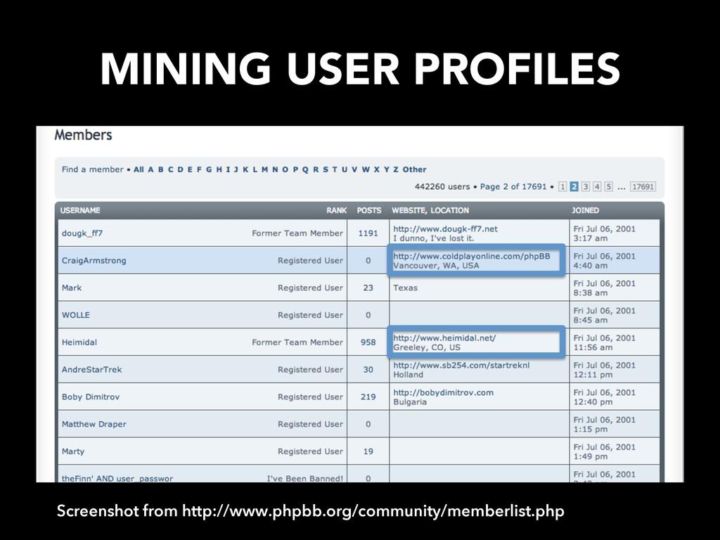 MINING USER PROFILES Screenshot from http://ww...