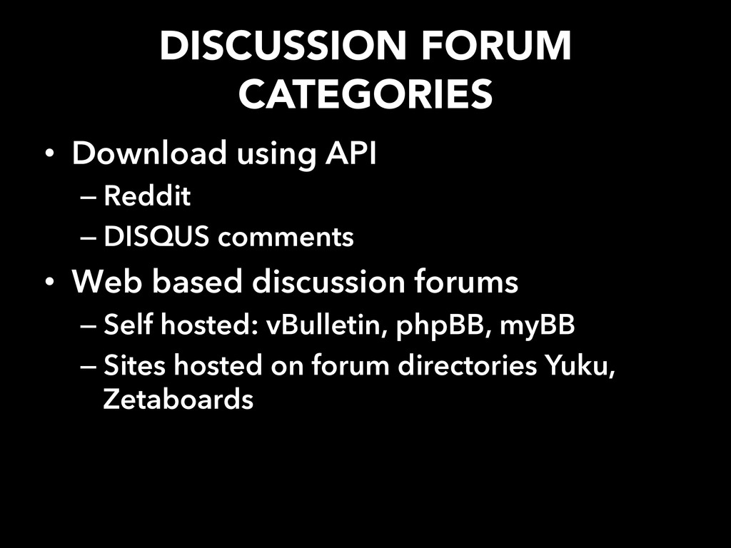 DISCUSSION FORUM CATEGORIES