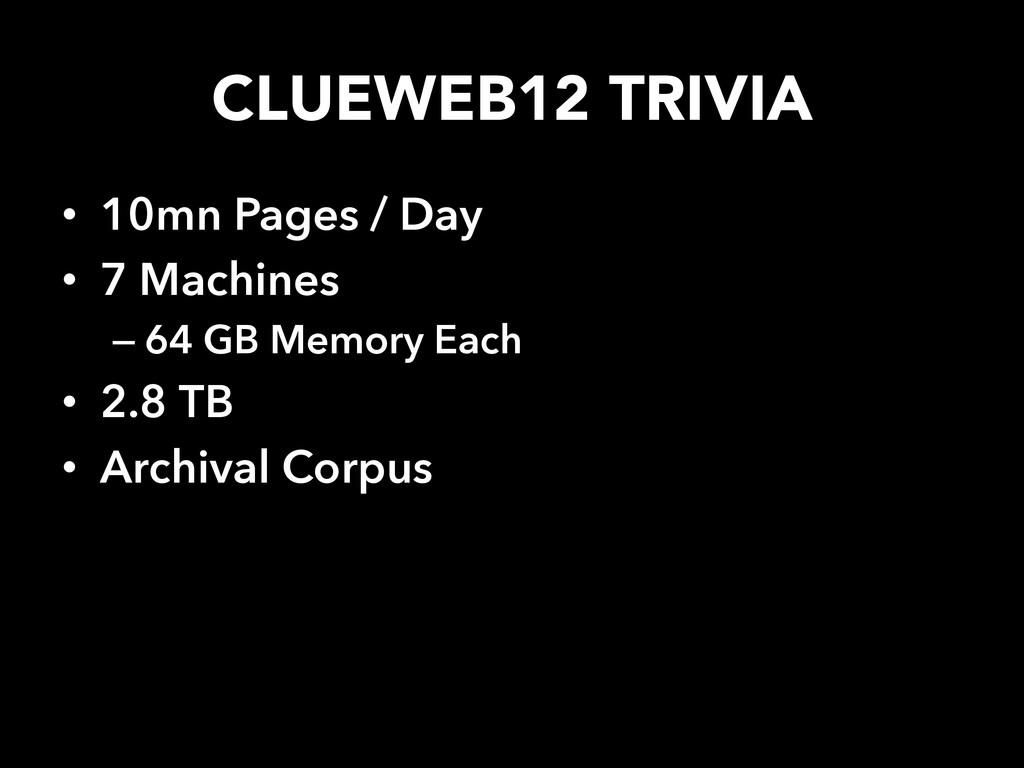 CLUEWEB12 TRIVIA