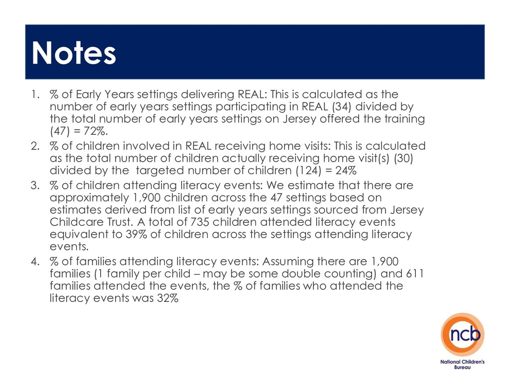 Notes 1. % of Early Years settings delivering R...