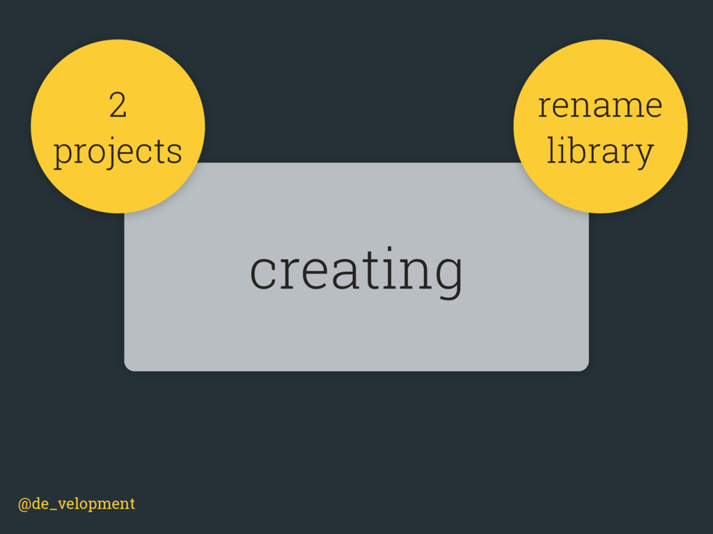 @de_velopment creating 2 projects rename library