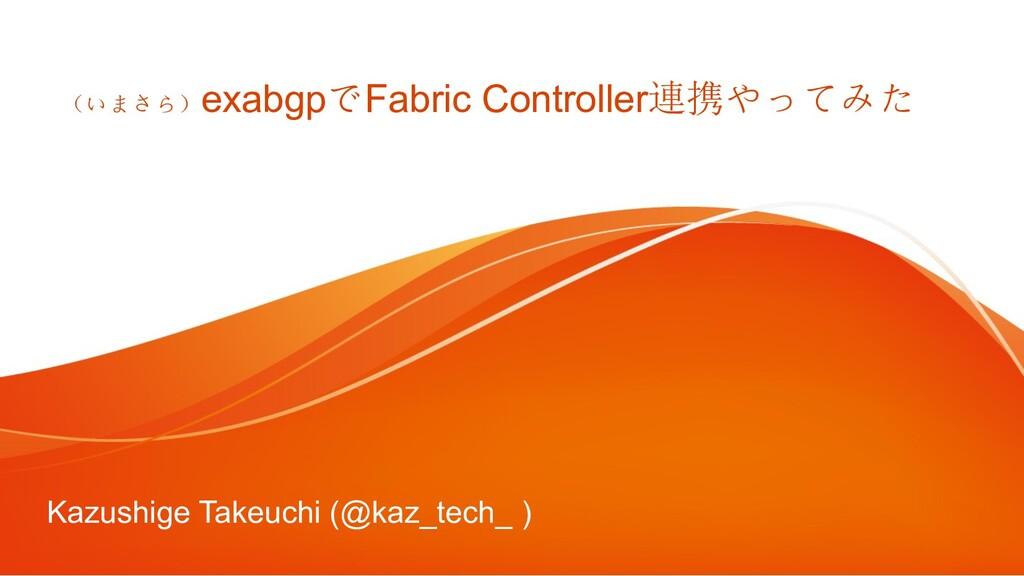 (いまさら) exabgpでFabric Controller連携やってみた Kazushig...