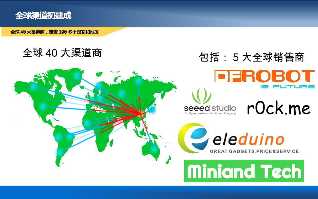 全球渠道初建成 全球 40 大渠道商,覆盖 100 多个国家和地区 全球 40 大渠道商 包括...