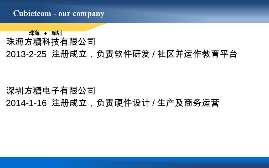 Cubieteam - our company 珠海方糖科技有限公司 2013-2-25 注册...